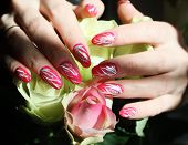 stock photo of nail-art  - Beautiful nail design - JPG