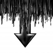 foto of fuel economy  - Oil dropping fuel and gas price falling concept as liquid black crude petroleum spilling down sgaped as a downward arrow in a symbol for declining prices in fossil energy due to market oversupply and overproduction - JPG
