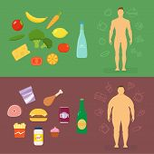 image of gents  - Healthy Lifestyle Flat Vector Card or Infographic Elements With Food Icons - JPG