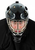 pic of ice hockey goal  - Ice hockey goalie portrait - JPG