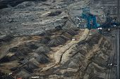 stock photo of mines  - Industrial mining machine in the mine closeup