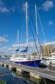 foto of pontoon boat  - Sailing Yachts Moored on the Canal at Turf Lock - JPG