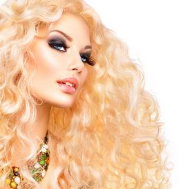 stock photo of perm  - Glamour Blonde lady - JPG