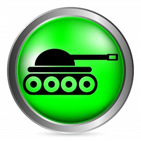 picture of panzer  - Panzer green button isolated on white background - JPG