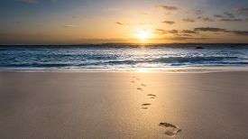 foto of footprint  - Footprints in the Sand on a beach at sunrise - JPG