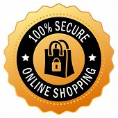 pic of security  - Secure shopping icon isolated on white background - JPG