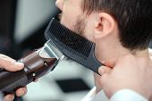 stock photo of clippers  - Perfectly styled beard - JPG
