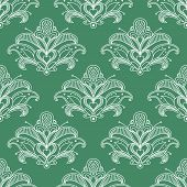 foto of stamen  - Lush outline white paisley flowers seamless pattern with heart shape stamen on green background for interior or textile design - JPG