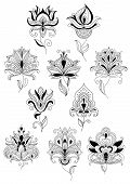 pic of oblique  - Abstract openwork turkish stylized flowers with lush blooming petals and oblique leaves on billowy fragile stems for background fills or textile design - JPG