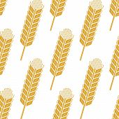 foto of spike  - Cartoon cereal ears seamless pattern showing yellow wheat or barley spikes for agriculture or farming concept design - JPG