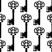 pic of skeleton key  - Seamless pattern with vintage skeleton keys silhouettes for textile or background design - JPG