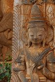 stock photo of guardian  - Guardian spirit on the walls of an ancient stupa at In Dein Inle Lake Myanmar  - JPG