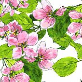 ������, ������: seamless pattern with apple blossoms