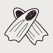 stock photo of flipper  - Flippers Doodle - JPG