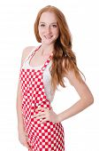 stock photo of pinafore  - Young cook female isolated on white - JPG