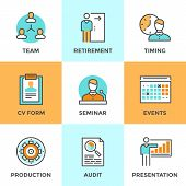 foto of seminar  - Line icons set with flat design elements of business people management company growth presentation seminar training human resources and retirement - JPG