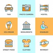 stock photo of disability  - Line icons set with flat design elements of city taxi street food environment for people with disabilities accommodation in hostel - JPG