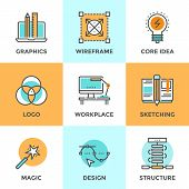 stock photo of logo  - Line icons set with flat design elements of graphic design development create logo or emblem sketch drawing super magic skills designer workplace - JPG