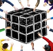 pic of dice  - Cube Dice Dimension Logic Mind Thinking Concept - JPG
