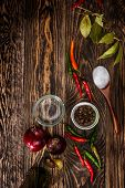 picture of bay leaf  - Spices on wooden table - JPG