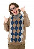 image of geek  - geek man going thumbs up - JPG