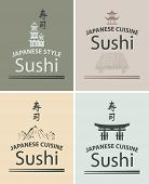 picture of sushi  - set of banners with Japanese cuisine for sushi with different cultural attractions - JPG