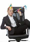 pic of office party  - blonde businesswoman smiling and having fun during a party in the office - JPG