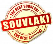 stock photo of souvlaki  - illustration of souvlaki red sticker on white background - JPG