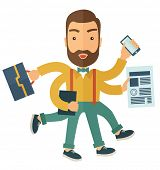 stock photo of multitasking  - A multitasking job is a man with many hands with successful planning elements - JPG