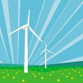 picture of wind-vane  - Wind turbines among green grass and flowers against the blue sky background - JPG