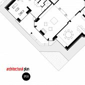 stock photo of drawing  - Architectural drawing house plan - JPG