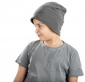 image of beanie hat  - Cute boy wearing beanie looking at space for your text isolated on white background - JPG
