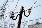 stock photo of pole  - Electrical wire on pole - JPG