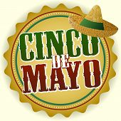stock photo of party hats  - Cinco De Mayo Badge Vector Illustration with Hat - JPG