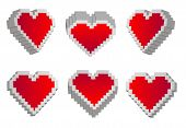 stock photo of dork  - six volume heats in pixel style vector - JPG