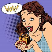 stock photo of reaction  - The woman is glad to get a gift wow pop art comics retro style Halftone - JPG