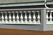 image of balustrade  - Fragment beautiful white balustrade on a Sunny day - JPG
