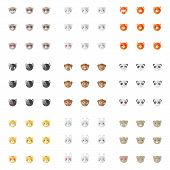 picture of emoticons  - Vector modern minimalistic flat animal emoticons collection - JPG