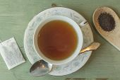 pic of black tea  - British black tea in a dainty tea cup and saucer - JPG