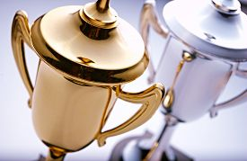 picture of trophy  - Gold and silver trophies waiting to be awarded to the winner and runner - JPG
