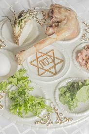 image of seder  - Jewish seder plate - JPG