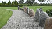 Way With Erratic Boulders In Jelling In Denmark