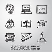 School, education freehand icons set. Vector poster