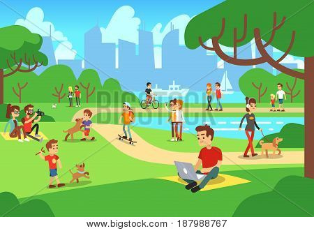 poster of People in city park. Relaxing men and women outdoor with smart phones vector illustration. Urban green park with people relax