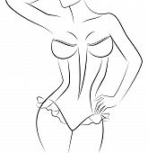 picture of striper  - Silhouette of beautiful womanish body on a background for a design - JPG