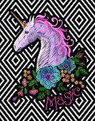 Fantasy Unicorn Embroidery Patch Sticker. Pink Violet Mane Horse Flower Arrange Poppy Rose On Geomet poster