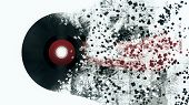 Burst Music Sign. Vinyl Disk Explosion, Hot Music, Illustration poster