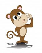 foto of dorky  - vector illustration of a dorky monkey - JPG