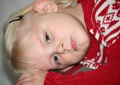foto of pouty lips  - Four year old blond girl with very fair complexion - JPG