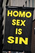 picture of fundamentalist  - Poster claiming gay sex as sin - JPG